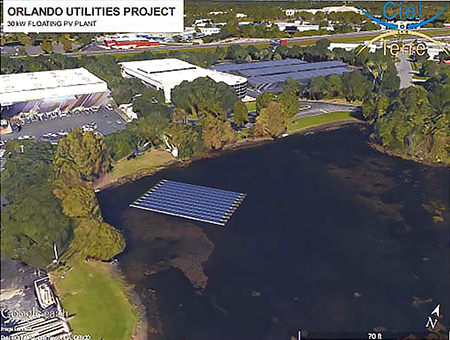 Rendering of OUC's Gardenia Operations Center floating solar project.