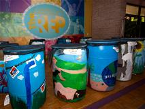 Water Color Rain Barrel Students with Commissioner Dan Kirby