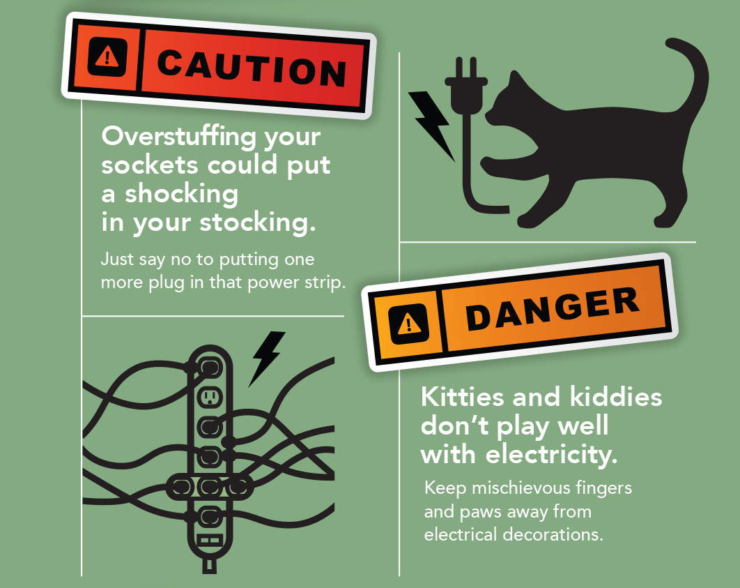 Number 1 Caution: Over stuffing your sockets could put a shocking in your stocking. Just say no to putting one more plug in that power strip. Number 2 Danger: Kitties and kiddies don't play well with electricity. Keep mischievous fingers and paws away from electrical decorations.
