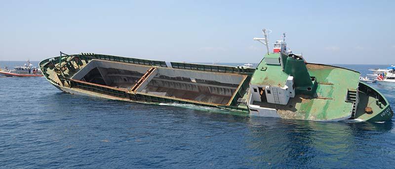 Sinking cargo ship.