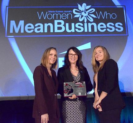 Linda Ferrone receives Women Who Mean Business Award