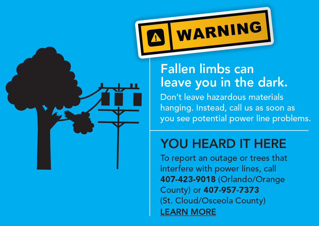 Fallen limbs can leave you in the dark. Don't leave hazardous materials hanging. Instead, call us as soon as you see potential power line problems. You heard it here. To report an outage or trees that interfere with power lines, call 407-423-9018 (Orlando/Orange County) or 407-957-7373 (St. Cloud/Osceola County). Learn more.