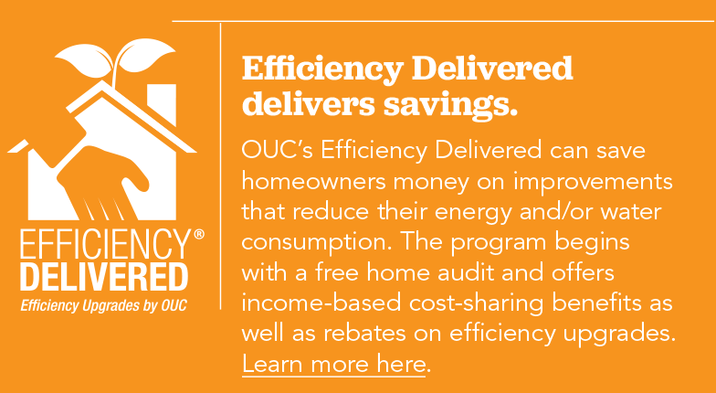 OUC's Efficiency Delivered can save homeowners money on improvements that reduce their energy and/or water consumption. The program begins with a free home audit and offers income-based cost-sharing benefits as well as rebates on efficiency upgrades.